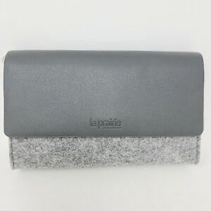 La Prairie Switzerland Gray Felt Faux Leather Makeup Mag Cosmetic Pouch Clutch