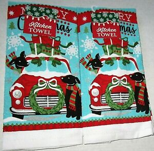 """CHRISTMAS Kitchen Towels 15"""" x 25"""" BRINGING HOME THE GIFTS 2 Towels"""