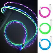 LED Iluminación de flujo tipo C de Datos Sincronización USB Cargador Cable para iPhone Samsung Galaxy