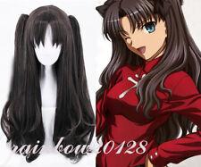 Black Mixed Brown Fate Grand Order Tohsaka Rin Anime Cosplay Wig+2 Clip Ponytail