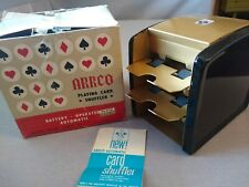 Vintage Japan Arrco Playing Card Shuffler Battery Operated w/Box Black & Gold