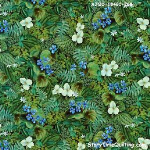 North American Wildlife coordinating cotton quilt fabric Kaufman Green Foliage