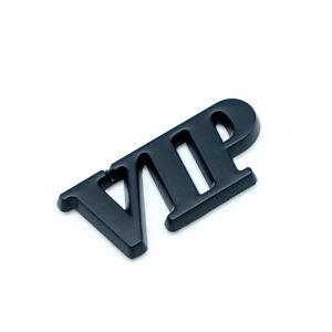 Car Body VIP Metal Badge Side Logo Matte Black Rear Trunk Emblem Sticker Decal