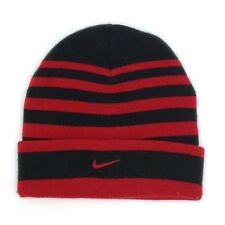 $96 NIKE KIDS BOYS BLACK RED STRIPED  CAP RIBBED CUFFED WINTER BEANIE O/S