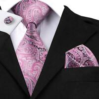 USA Paisley Pink Mens New Classic Silk Necktie Set Wedding Party 2018 SN-1571