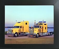 Yellow Kenworths Big Rig Diesel Truck Wall Art Contemporary Black Framed Picture