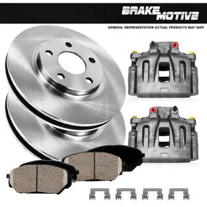 Front OE Brake Calipers and Rotors Ceramic Pads Pair For 2008 PONTIAC G5 GT