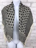 Black and White Geometric Print Woven Scarf With Fringe ~ Rayon ~ India ~ 38x38""