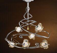 Plafoniera classica design laccata argento con vetri coll. BELL rose 2506/PL6L