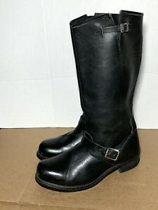 Mens Tall Black Leather Biker Motorcyle Engineer Boots 12 EE