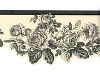 Black Line Drawing Rose Toile on Off White Die Cut Rose Flower Wallpaper Border