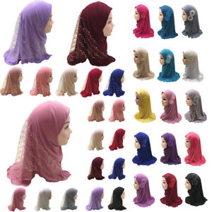 Muslim Kids Girls Hijab Scarf Amira One Piece Khimar Turban Head Wrap Ramadan
