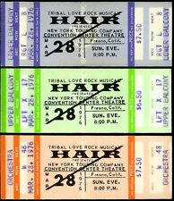 3 Super Rare Unused Hair Tribal Love Rock Music Tickets Fresno Ca Mar 28th 1976