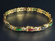 14K Yellow Gold Over Diamond Square Emerald, Sapphire,Ruby Tennis Bracelet 6.5""