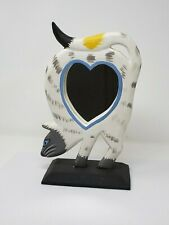 Indonesian / Balinese Handcrafted Wooden Striped White Cat Heart Mirror