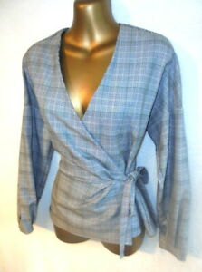 Zara Woman S - 10 Wrap Top in Grey check ties at the side long sleeves NEW (1814