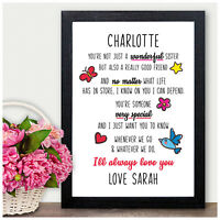 Personalised Christmas Gifts for Sister - Poem Gifts for Sister Her Birthday