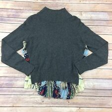 Moth Anthropology Cashmere Blend Sweater Tunic Pullover Large Gray Floral