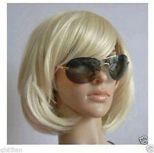Ladies Fashion Short Blonde Straight Women's Bob Wig Wigs Cap