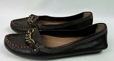 J. CREW Sz 6 Brown Leather Driving Moccasin Gold Chain Women's Shoes