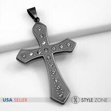 Unisex Men Women's Black Tone Stainless Steel Large Simple Cross Pendant  HOT 3A