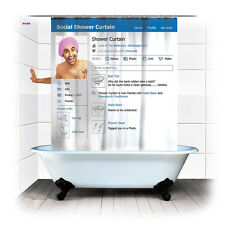 Funny Social SNS Shower Curtain Bathroom Waterproof Fabric with 12 Hook
