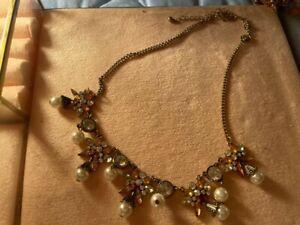 Vintage Kette Blumen Blüten Bernstein Perlen Topas vergoldet