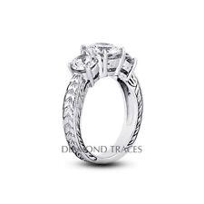 2 1/4ct G VS1 Rund Natürlich Diamanten 18k Vintage Stil Verlobungsring