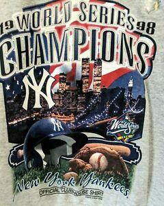 N.Y Yankees 1998 World Champions Womens Clubhouse Starter Sweatshirt L Gray
