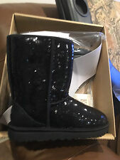 UGG WOMENS CLASSIC SHORT SPARKLES SEQUIN BLACK BOOTS SIZE 9 NEW