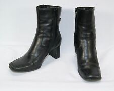 APOSTROPHE Nina Women's Black Leather High Heel Ankle Boots Size 8 1/2 M