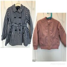 Bundle of 2 - Girl's Checked Trench Coat & Bomber Jacket 6-7 Years Height 122 cm