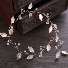 Women Bride Headband Rose Golden Leaves Jewelry Wedding Hair Band Handmade Decor