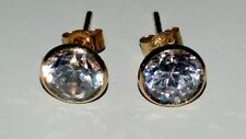 Sparkling 9ct Yellow Gold 6mm Round Solitaire Australian Crystal Earrings/Studs*