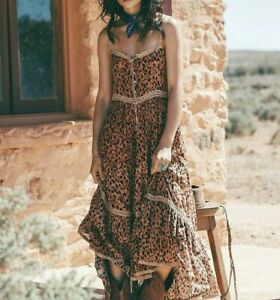 L New Western Leopard Print Maxi Beach Sundress Saphari Dress Womens LARGE