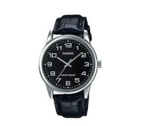 Casio MTP-V001L-1B Black Leather Strap Watch For Men