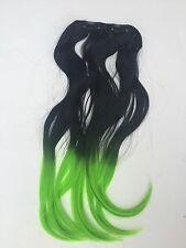 """18 extensiones de pelo sintético Clip en Clip en # Negro/Verde 8"""" de ancho Ombre"""