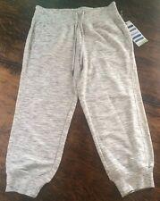 NWT Womens GREEN TEA White Heather Active Capri Sweat Pants Size 2XL XXL $48