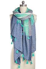 SAACHI Artist Handcrafted SCARF Shawl Throw Wrap Cover Up Aqua Blue Tassels
