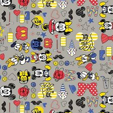 Disney Mickey Mouse & Friends zinc grey Camelot 100% cotton fabric by the yard