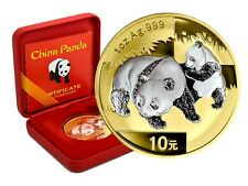 10 Yuan Silber China Panda 2008 gilded reverse in Box und CoA