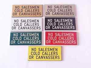 NO SELLERS COLD CALLERS OR CANVASSERS ENGRAVED DOOR SIGNS 80x40mm