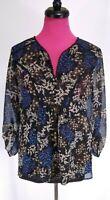 Daniel Rainn Blouse Top Size L Womens Black Blue Floral Sheer Crochet Accent