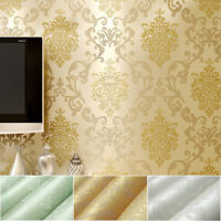 5M Self-adhesive Luxury Damask Embossed Flock Textured Non-woven Wallpaper Roll