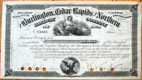 1870 Railroad Stock Certificate: Burlington, Cedar Rapids & Northern Railway, IA