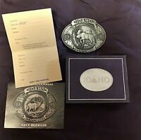 IDAHO Centennial 1890-1990 Commemorative Pewter Mint Belt Buckle Moose NIB