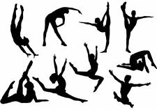 9 Gymnastic Gym Black Silhouettes Edible ** A4 ICING SHEET ** Cake Toppers