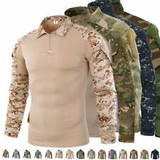 Army T-shirt Mens Military Tactical Combat Shirt Camo Long Sleeve Tee Pullover