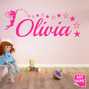 FAIRY Wall Sticker Personalised Name Girls Bedroom Vinyl Wall Art Decal F5