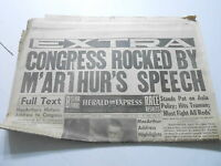 APRIL 19 1951 HERALD EXPRESS newspaper section MACARTHERS CONGRESS SPEECH